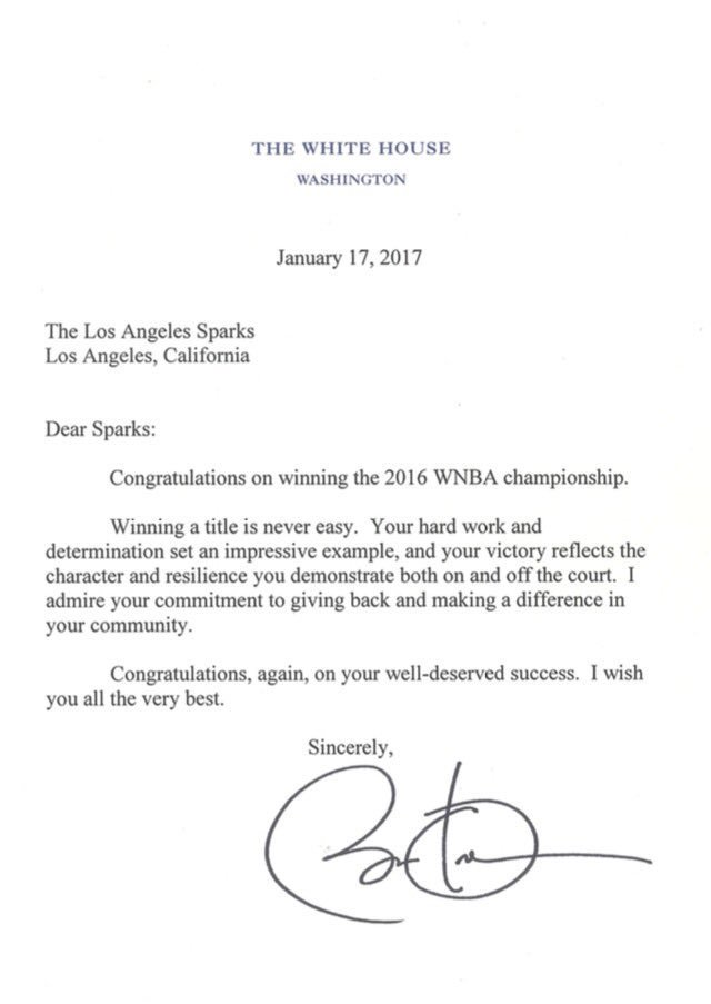President Obama's letter to the 2016 WNBA champions, the Los Angeles Sparks.