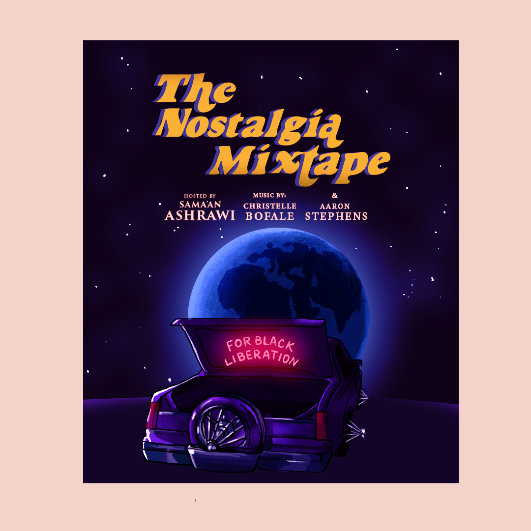 The Nostalgia Mixtape For Black Liberation. A Houston slab car on the surface of the moon overlooking planet Earth. The neon lights in the trunk of the car say For Black Liberation.